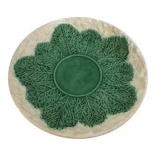 Bordallo Pinheiro Majolica Cabbage Leaf Lg Serving Plate For Sale