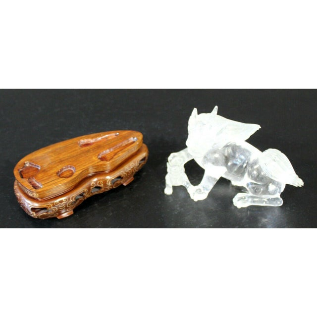 Chinese Rock Crystal Glass Fu Dog Statuette Wood Base Table Sculpture For Sale - Image 10 of 11