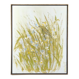"Vintage Mid-Century ""Meadow Dweller"" Signed Oil on Canvas Painting For Sale"