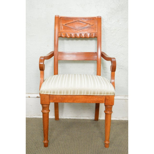White Lexington Regency Style Set of 4 Cherry Wood Arm Chairs For Sale - Image 8 of 10