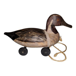Antique Hand Carved Duck Decoy Pull Toy For Sale
