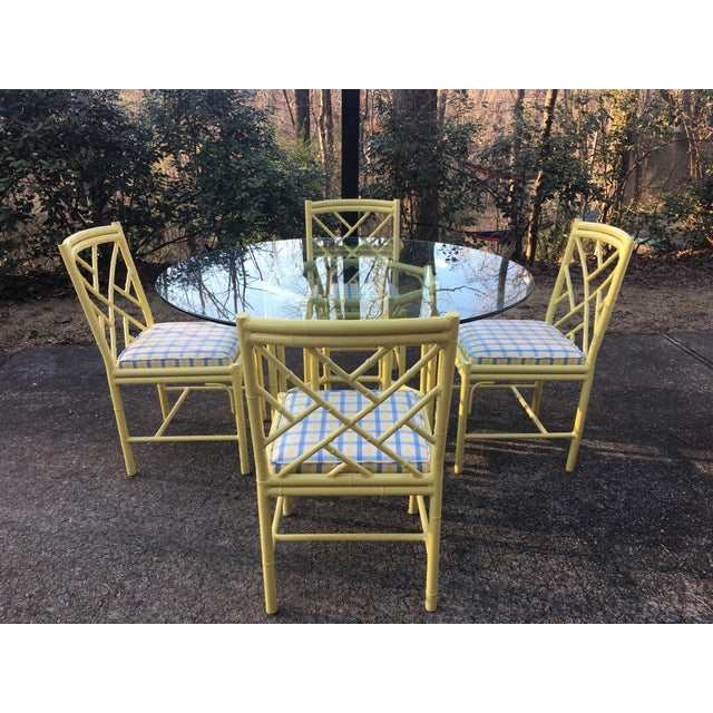 Yellow 1970s Chippendale Meadowcraft Faux Bamboo Dining Set - 5 Piece Set For Sale - Image 8 of 8