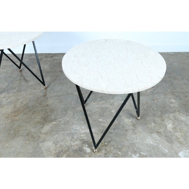 Wrought Iron Marble Top Side Tables - A Pair - Image 5 of 10