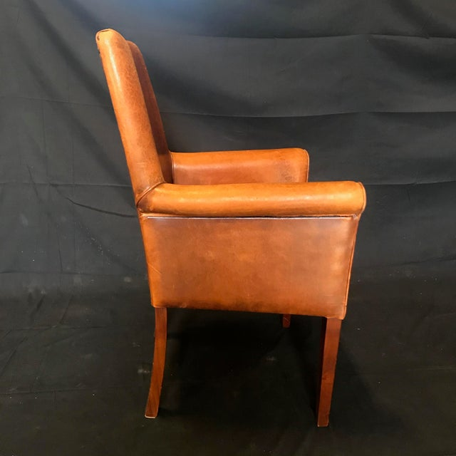 French Vintage Leather Armchairs -Set of 6 For Sale - Image 4 of 13
