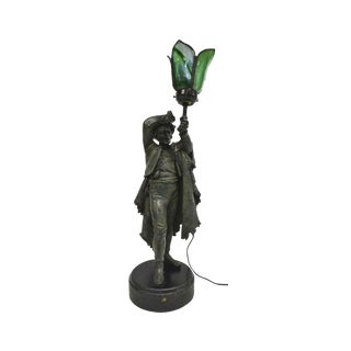 Late 19th / Early 20th Century Figural Cast Spelter Statue Newel Post Torchère Lamp For Sale
