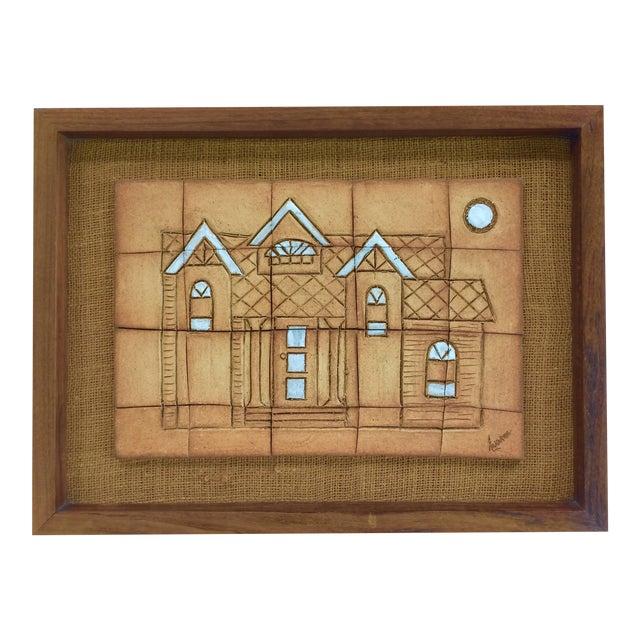 1970s Walnut Framed Art Tiles - Image 1 of 6