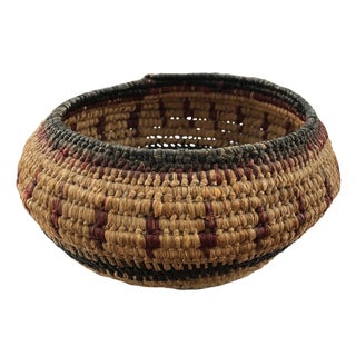 1920s Vintage Native American Inspired Woven Basket For Sale
