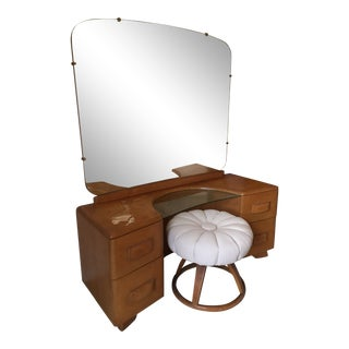 "Heywood Wakefield ""Riviera Vanity"" With Mirror and Seat Set"