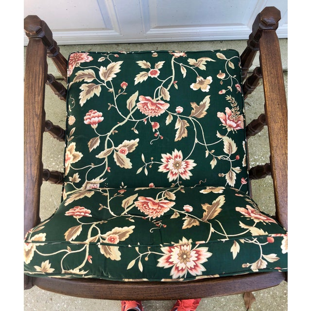 Mid-Century Floral Upholstered Wooden Cube Chair For Sale In Charleston - Image 6 of 12