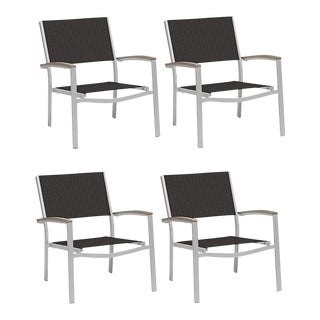 Outdoor Sling Lounge Chair, Vintage and Black (Set of 4) For Sale