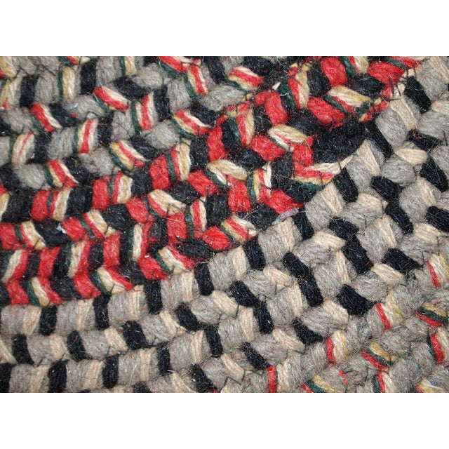 1930s Antique American Handmade Braided Oval Rug - 2′2″ × 3′9″ For Sale - Image 4 of 10
