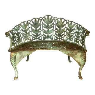 19th Century Art Bouveau Green Cast Iron Winged Garden Bench