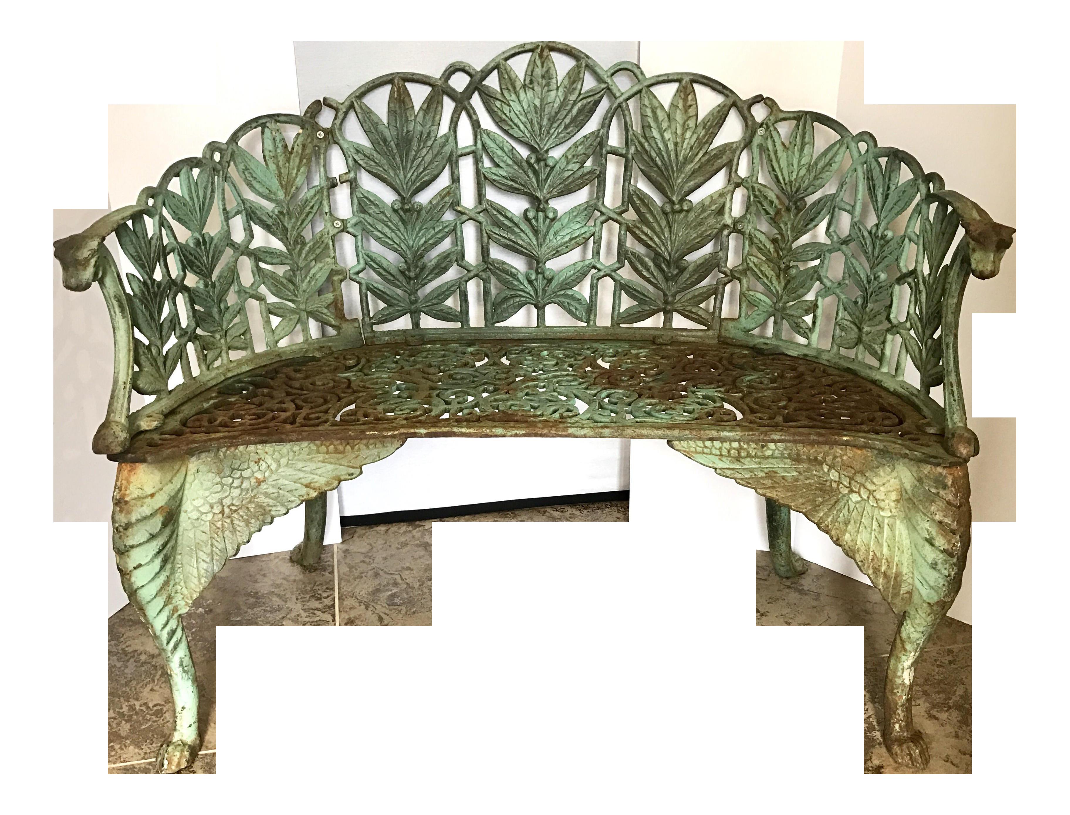 Superior 19th Century Art Nouveau Cast Iron Winged Garden Bench