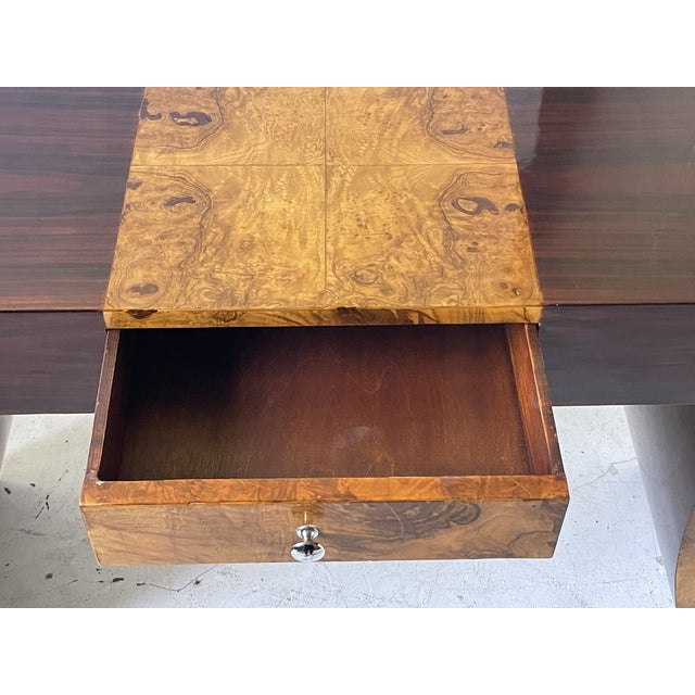 Mid-Century Modern Vintage Italian Rosewood and Burlwood Console or Desk For Sale - Image 3 of 13