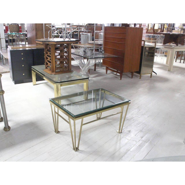 Geometric Frame Rectangular Brass Side Table w/ Glass Top For Sale In New York - Image 6 of 6