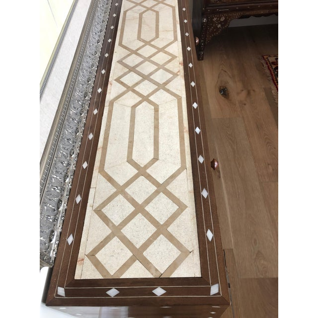 Contemporary Mother of Pearl Inlay Console Table With Marble Top For Sale - Image 11 of 12