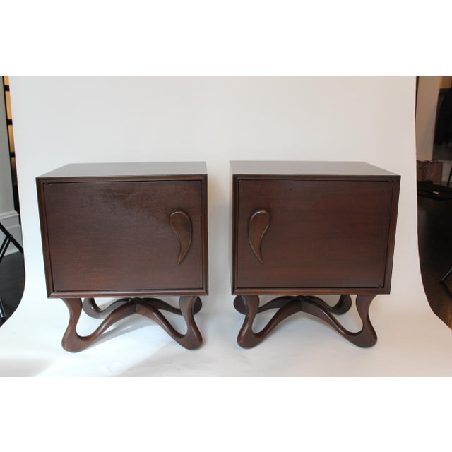 1950s Mid-Century Modern Mahogany Nightstands - a Pair For Sale In New York - Image 6 of 6