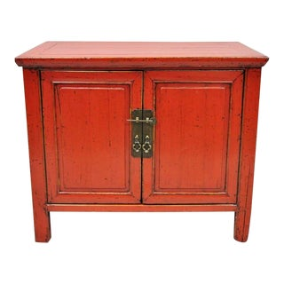 "Late 20th Century Red Lacquer Chinese 24"" Two Door Nightstand For Sale"