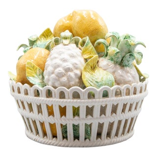 Vintage Italian Majolica Lemons & Pineapples Basket Centerpiece For Sale