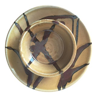 Studio Art Pottery Serving Dish & Bowl-Signed For Sale