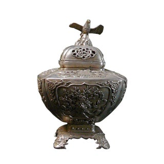 Silver Coating Artisitic Square Vase Shape Incense Burner Display