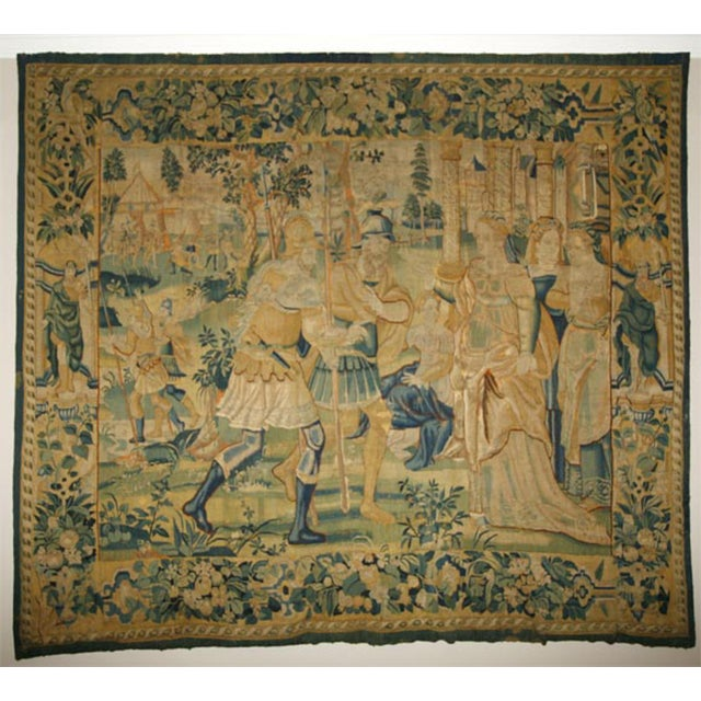 17th Century Flemish Tapestry of Soldiers and Ladies Outside of a Walled City For Sale In New Orleans - Image 6 of 8