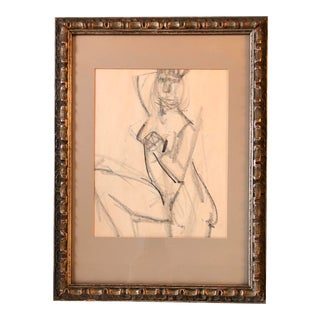 Original Female Nude Charcoal Study Sketch 1960's For Sale