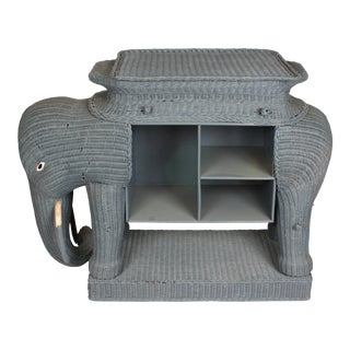 Large Wicker Elephant Console For Sale