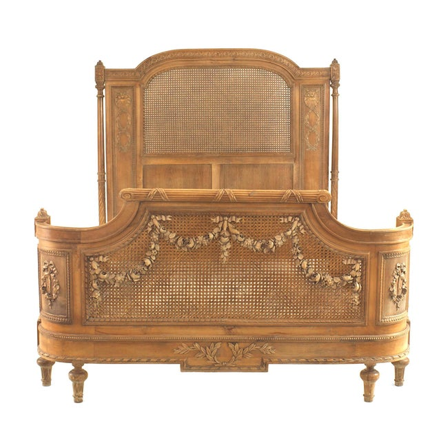 Wood French Louis XVI Style Carved Walnut and Cane Bed For Sale - Image 7 of 7