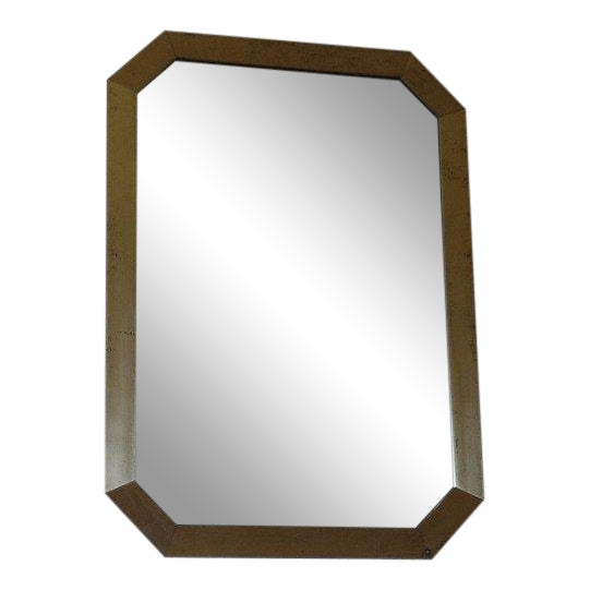 French 1970's Octogonal Brass Mirror by Guy Lefevre For Sale