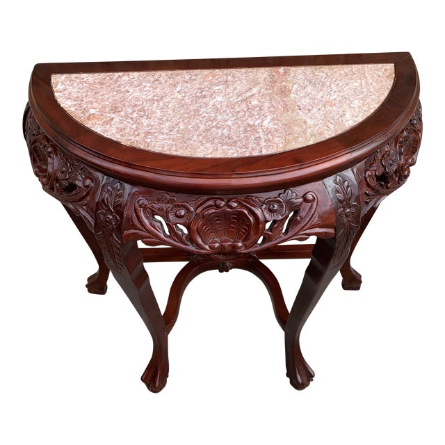 20th Century Traditional Marble Top and Carved Mahogany Demilune Table For Sale