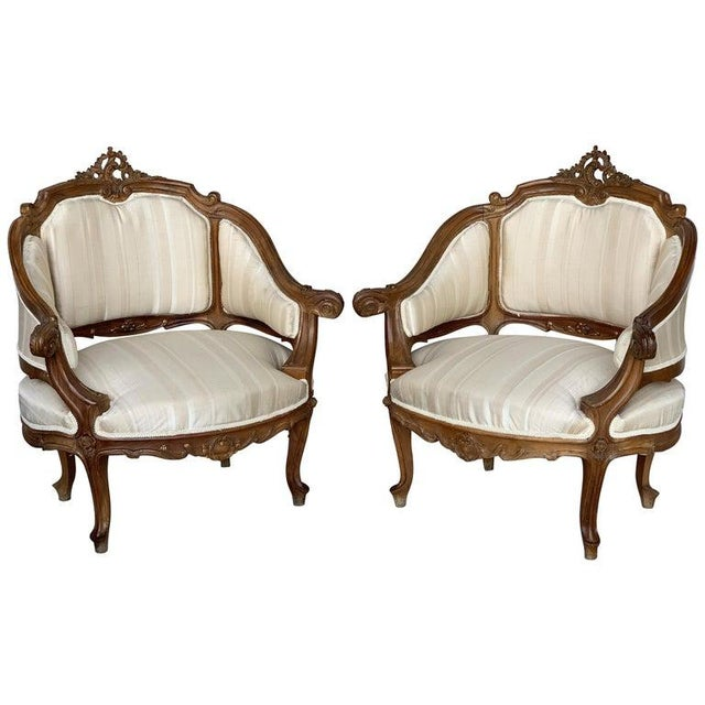Pair of Italian Rococó Louis XV Fauteuils or Slipper Chairs For Sale - Image 12 of 12