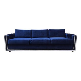 Mid Century Modern Faux Bamboo Blue Velvet Sofa For Sale