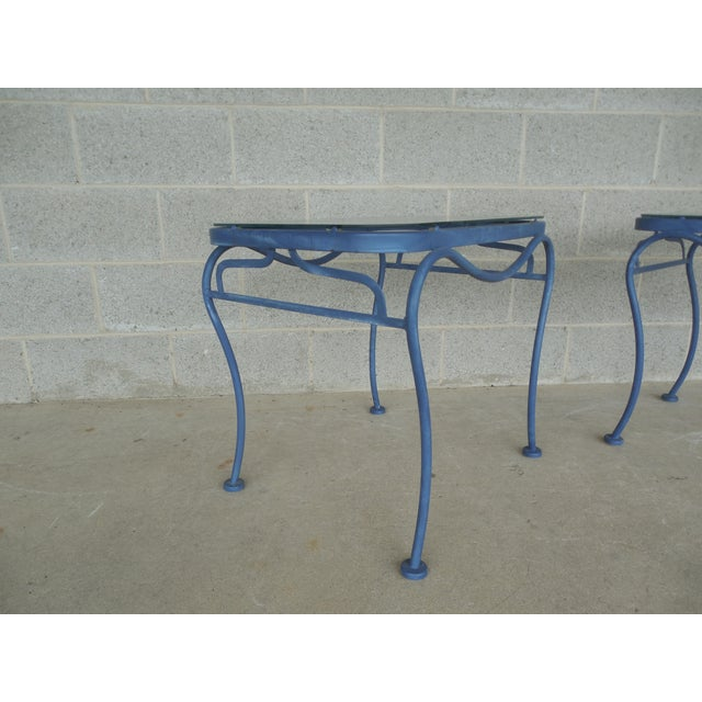 Vintage Woodard Hampton Park Pair Glass Top End Tables Model #1A052903 - Image 4 of 8