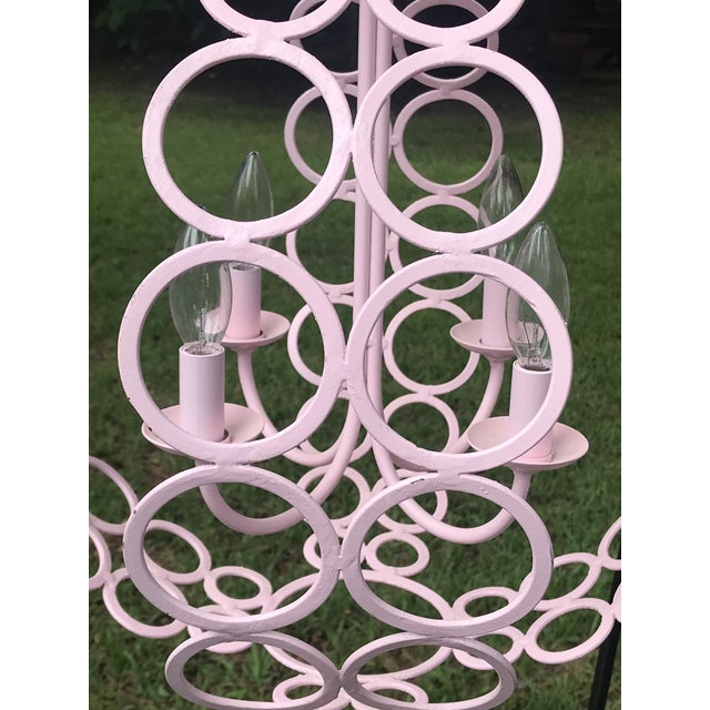 """2010s Currey and Company """"Tartufo"""" Pink Orb Four Light Chandelier For Sale - Image 5 of 6"""
