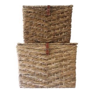 Rattan Baskets With Lids - A Pair