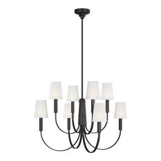 Thomas O'Brien by Generation Lighting Logan Large Chandelier, Black For Sale