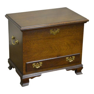 Chippendale Style Small Mahogany Lidded Chest with Drawer For Sale