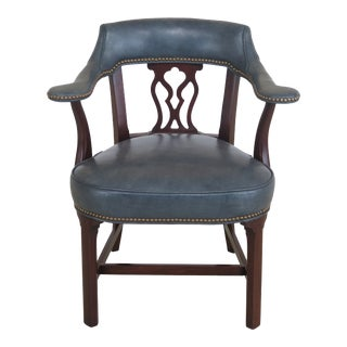Hickory Chair Co. Blue Leather Mahogany Desk Chair For Sale