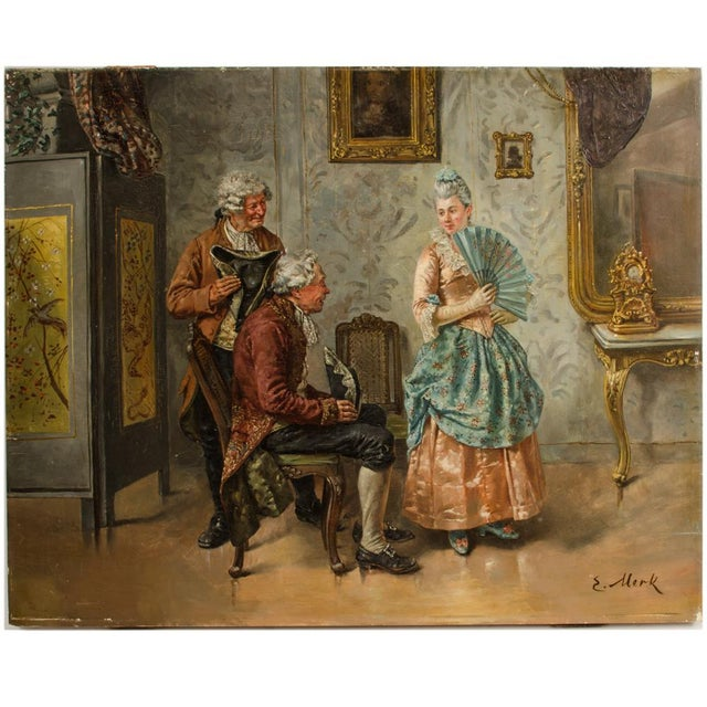 "Mid 19th Century ""Ladies Charm"" Figurative Victorian Oil Painting by Eduard Merk For Sale - Image 11 of 11"