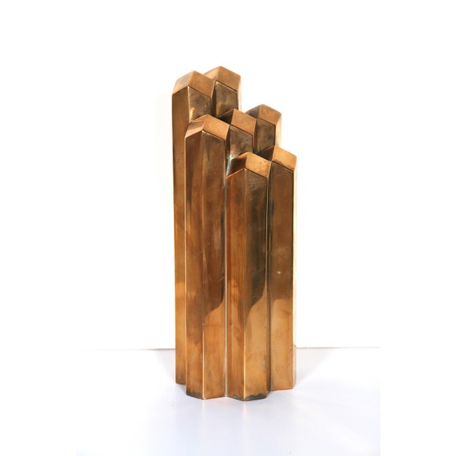 Modern Geometric Polished Bronze Sculpture - Image 2 of 5