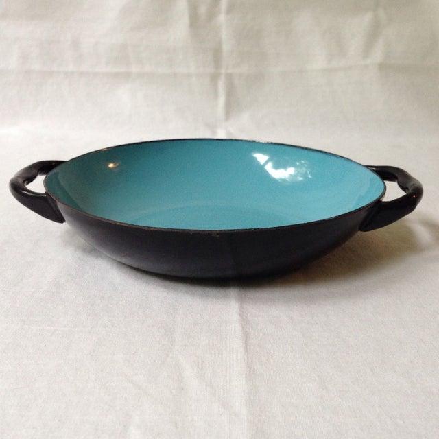 Blue & Black Enameled Bowl For Sale - Image 5 of 6