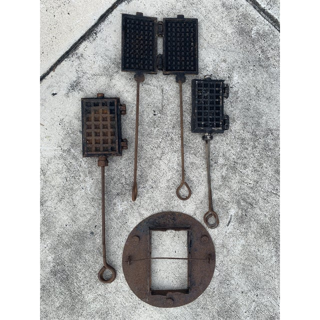 Antique Waffle Irons & Wood Burning Stove Lid - Set of 4 For Sale - Image 12 of 12