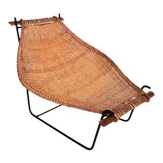 John Risley Wicker & Iron Chair, Mid Century Modern For Sale