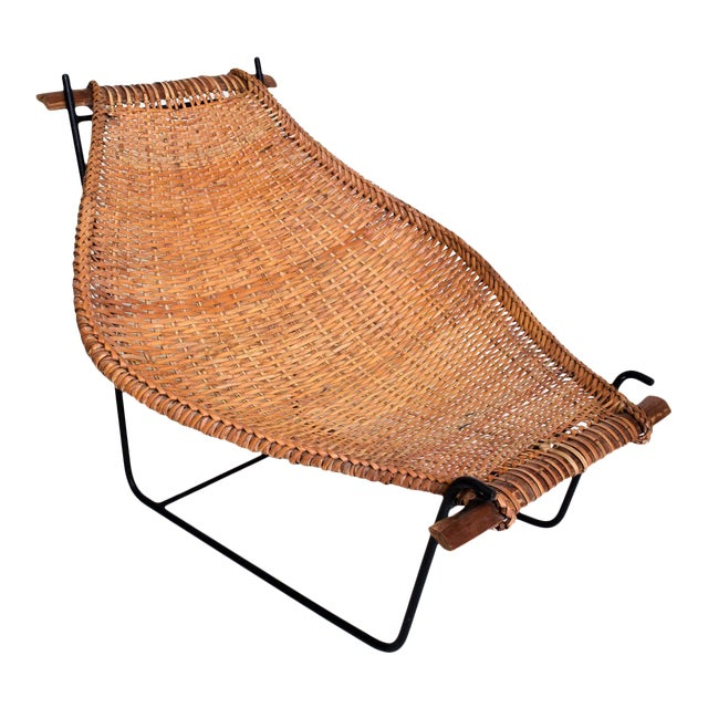 John Risley Wicker & Iron Chair, Mid Century Modern For Sale