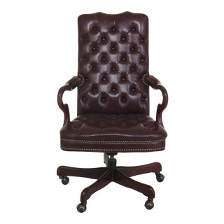 1990s Vintage Burgundy Leather Tufted Back & Seat Office Desk Chair For Sale