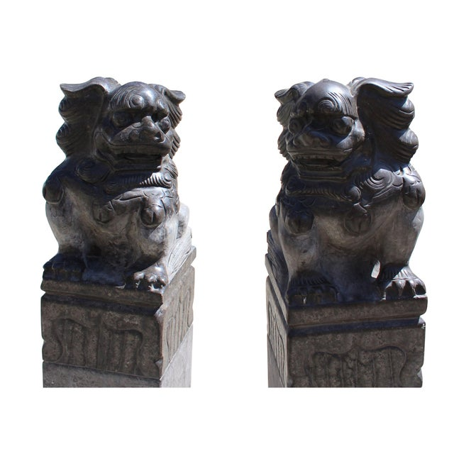 Stone Chinese Pair Black Gray Stone Fengshui Foo Dogs Tall Slim Pole Statues For Sale - Image 7 of 8