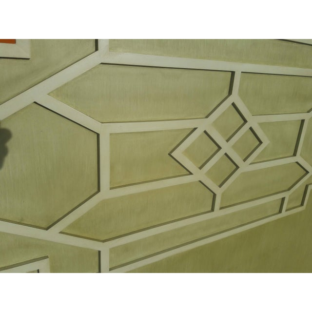 1970s Asian Solid Wood Queen Geometric Pagoda Headboard For Sale - Image 5 of 6