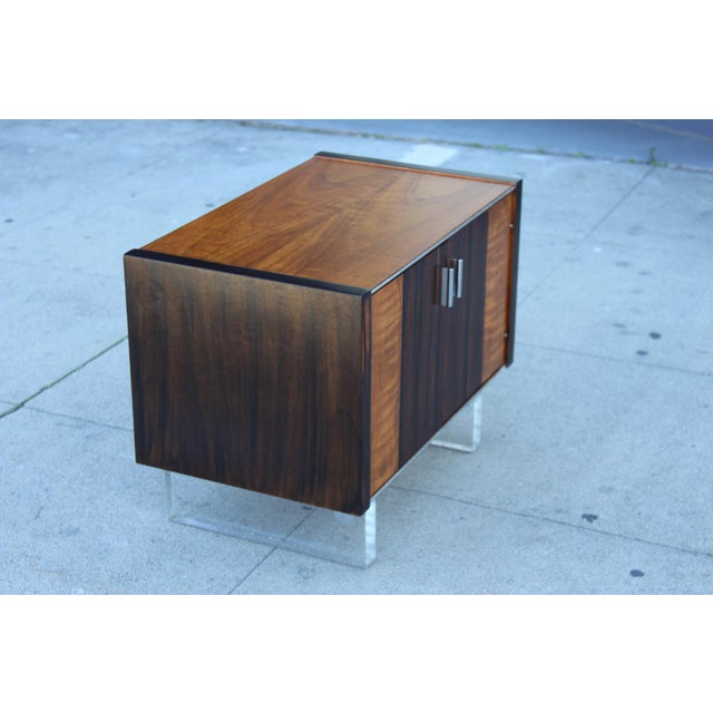 Mid-Century Wooden Nightstand on Lucite Base - Image 4 of 11