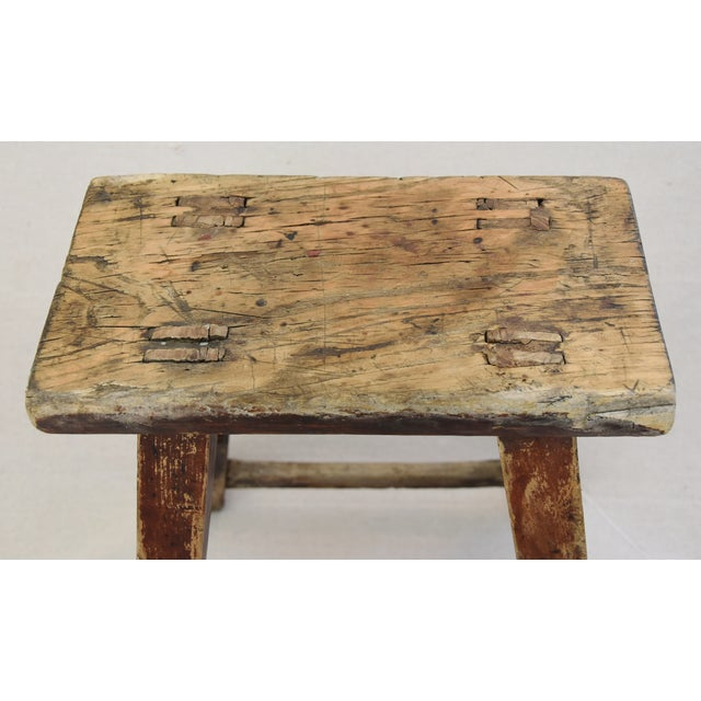 Rustic Primitive Country Wood Farmhouse Stool - Image 6 of 11